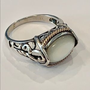 14k yellow gold sterling silver scroll stone ring